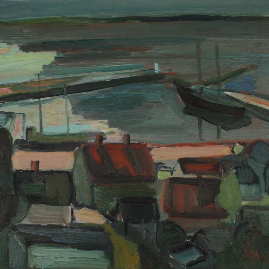 Gunnar Jonn (1904-63) Harbour Scene Sweden 1961