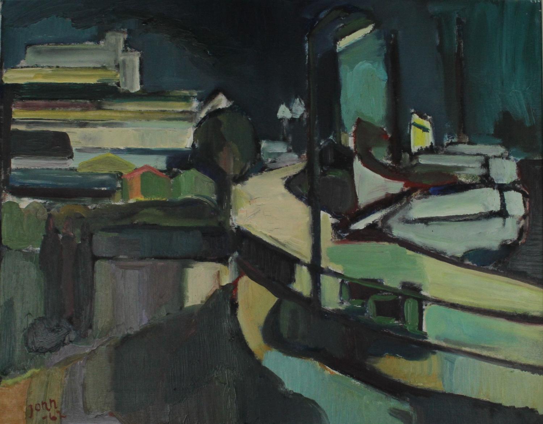 Gunnar Jonn (1904-63) Harbour at Night, Sweden 1962