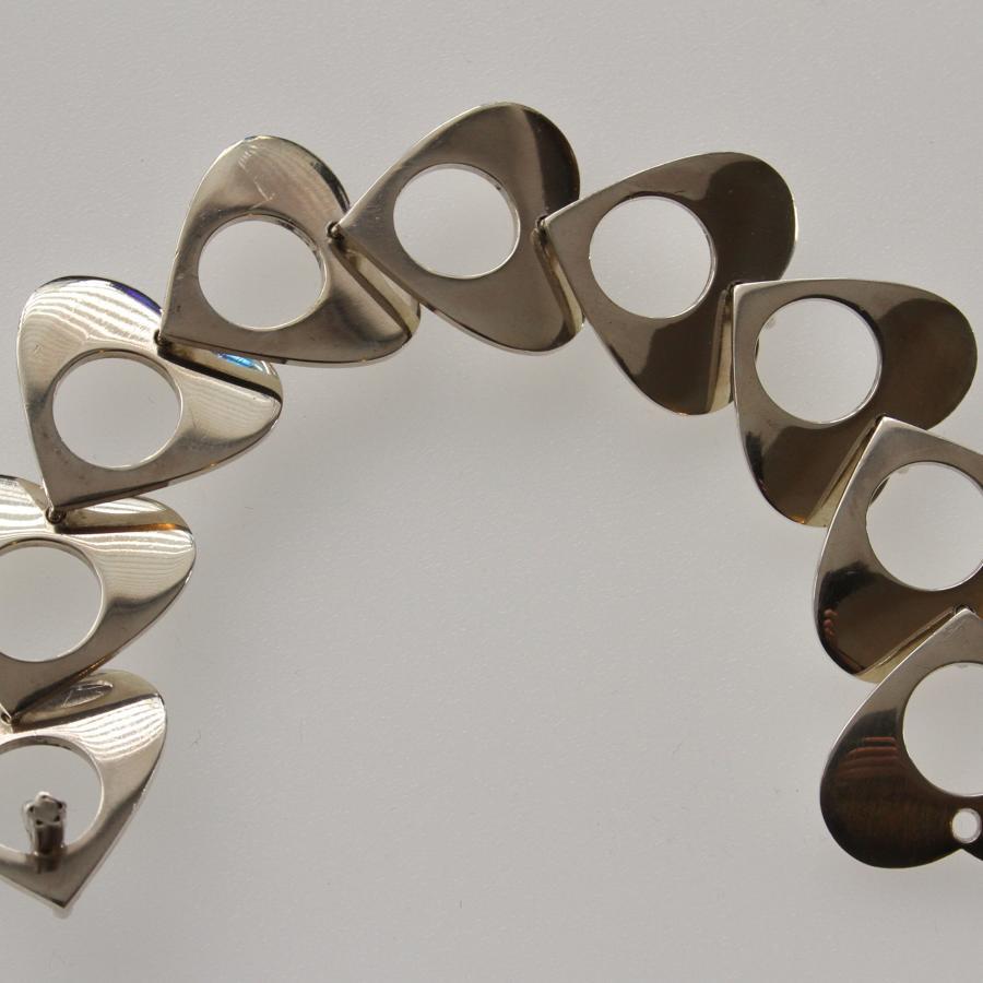 Bent Knudsen Silver Hearts Bracelet, Denmark 1970