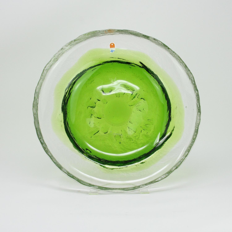 Humppila Green Glass Plate Pertti Santalahti Finland 1970s