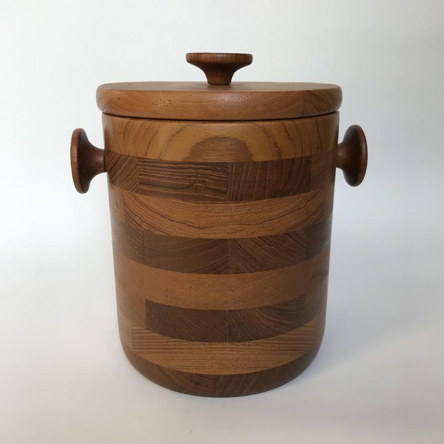 Danish teak icebucket with liner and tongs 1960s