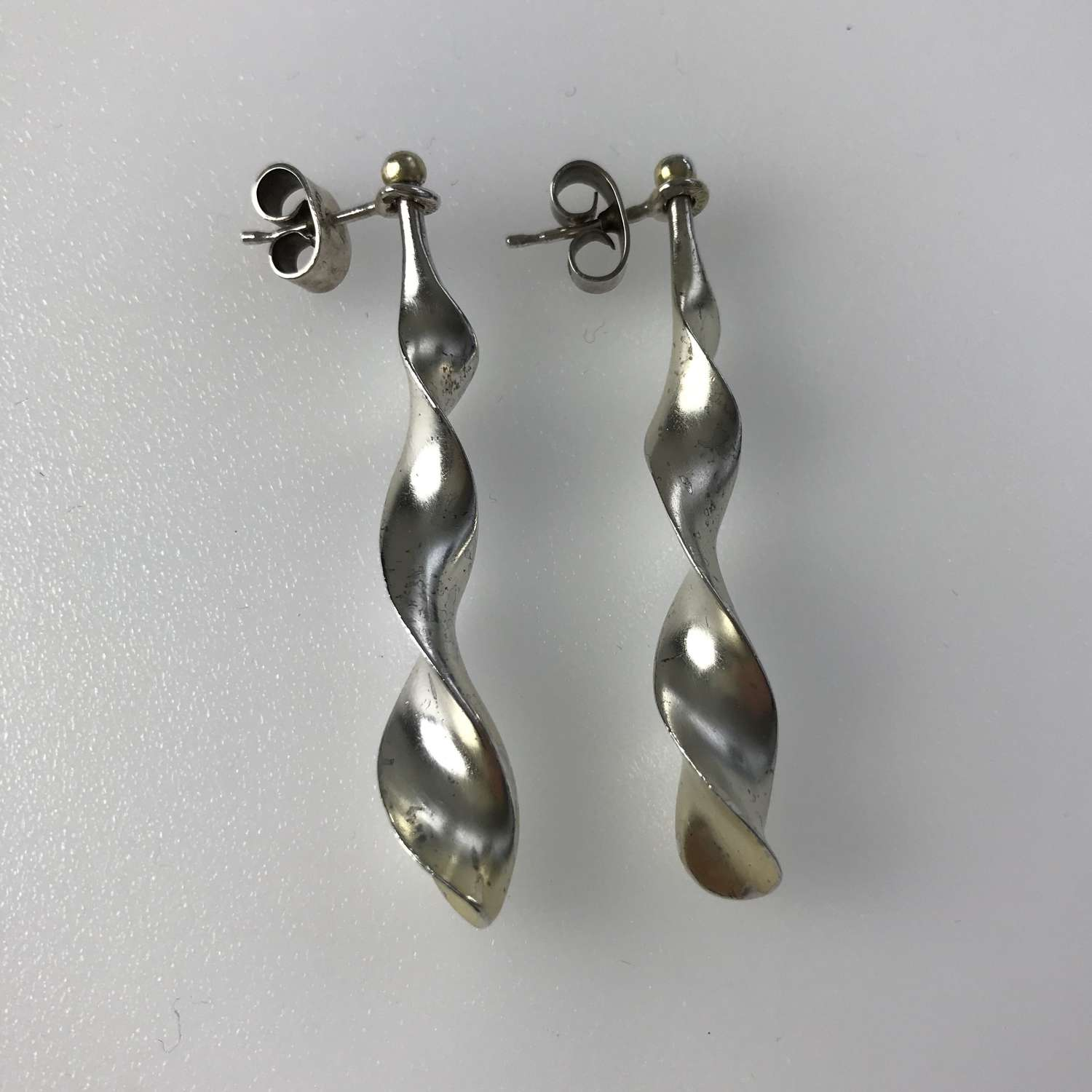 Zoltán Popovits silver kinetic earrings for Lapponia, Finland, c1970s