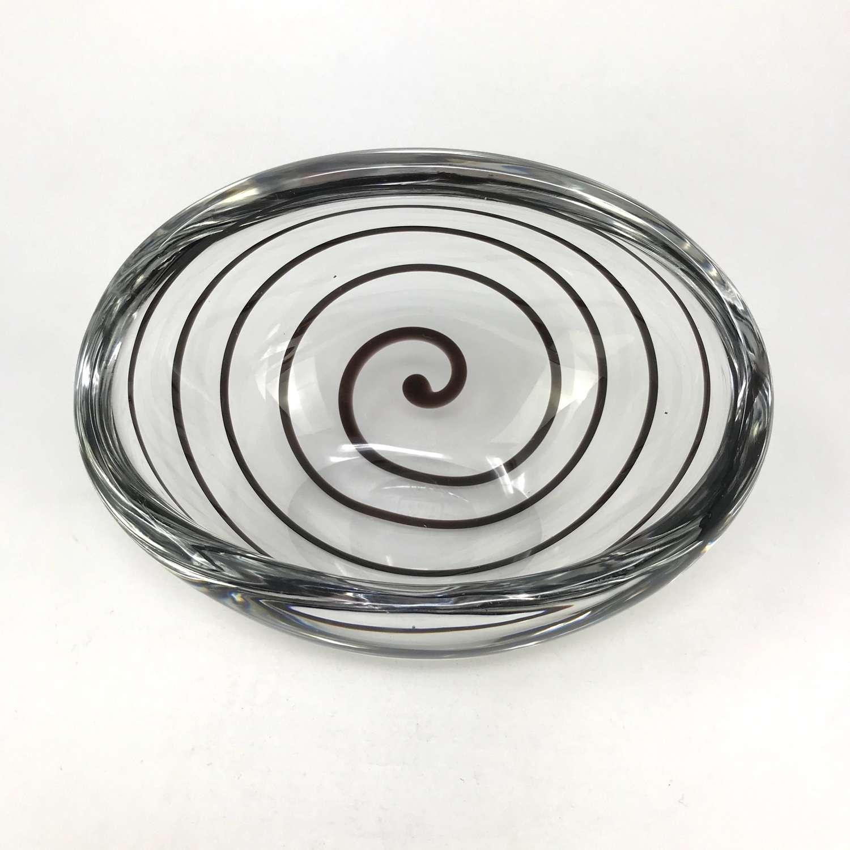 Vicke Lindstrand Tilted Bowl With Black Swirl, Kosta c.1960s