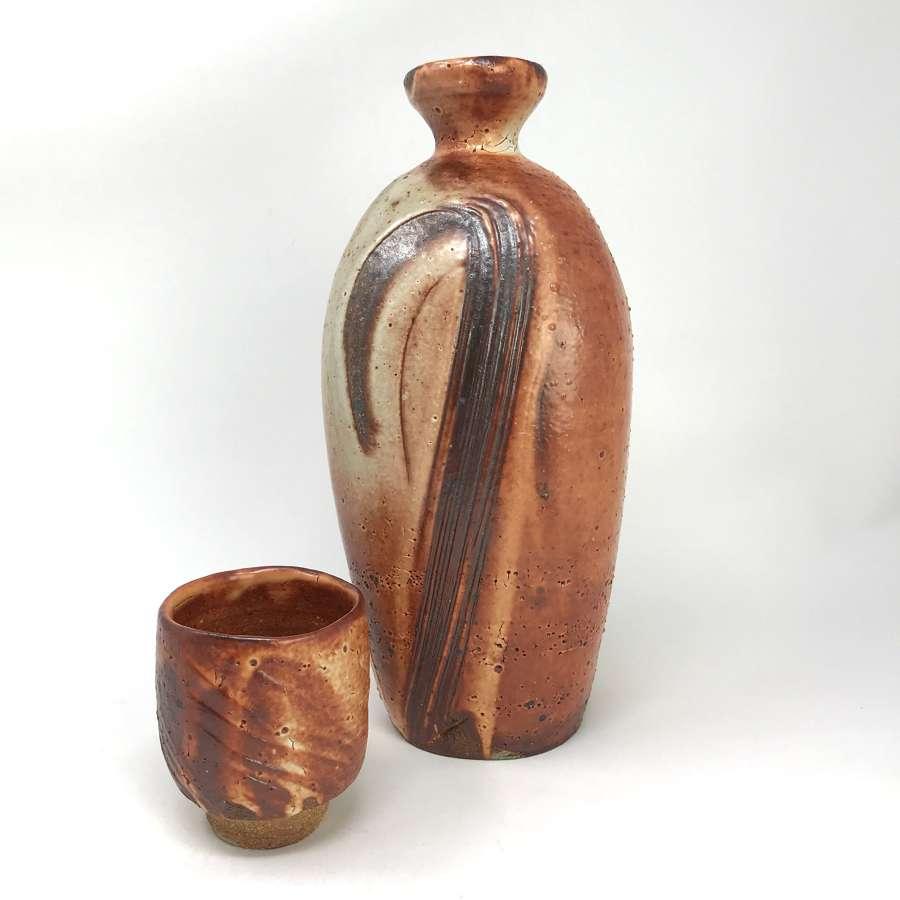 Lisa Hammond Stoneware Bottle and Matching Sake Cup
