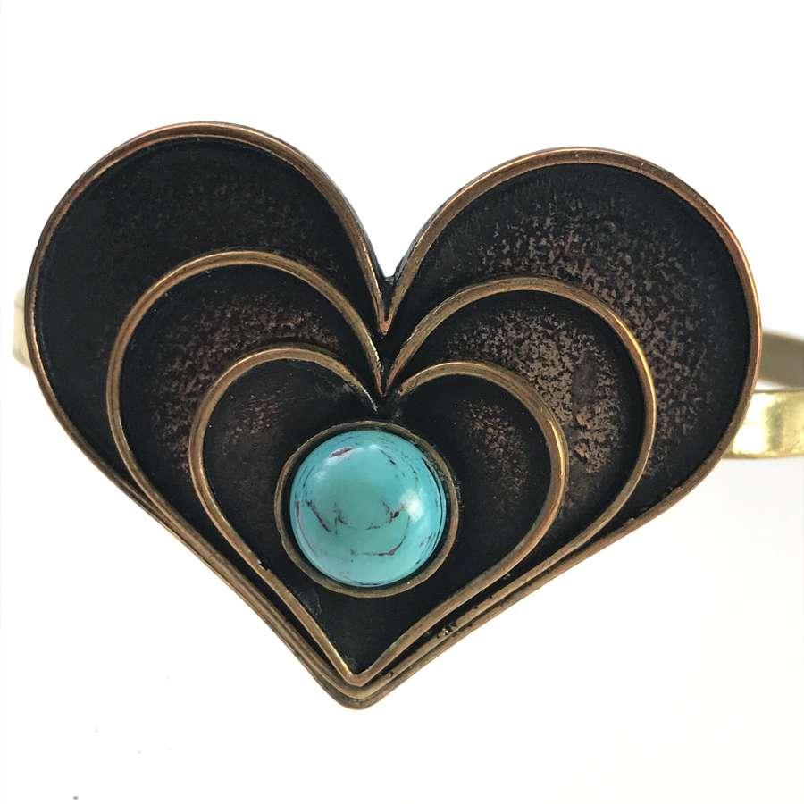 Bronze bangle with turquoise cabochon, Pentti Sarpaneva, Finland 1970s