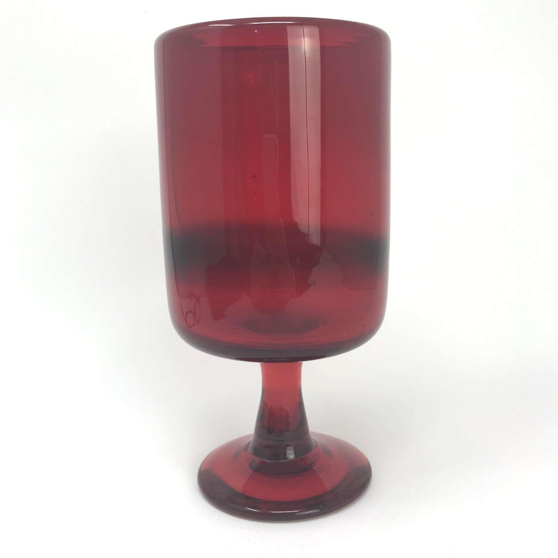 Erik Hoglund Large Red Glass Goblet Boda, Sweden 1960s