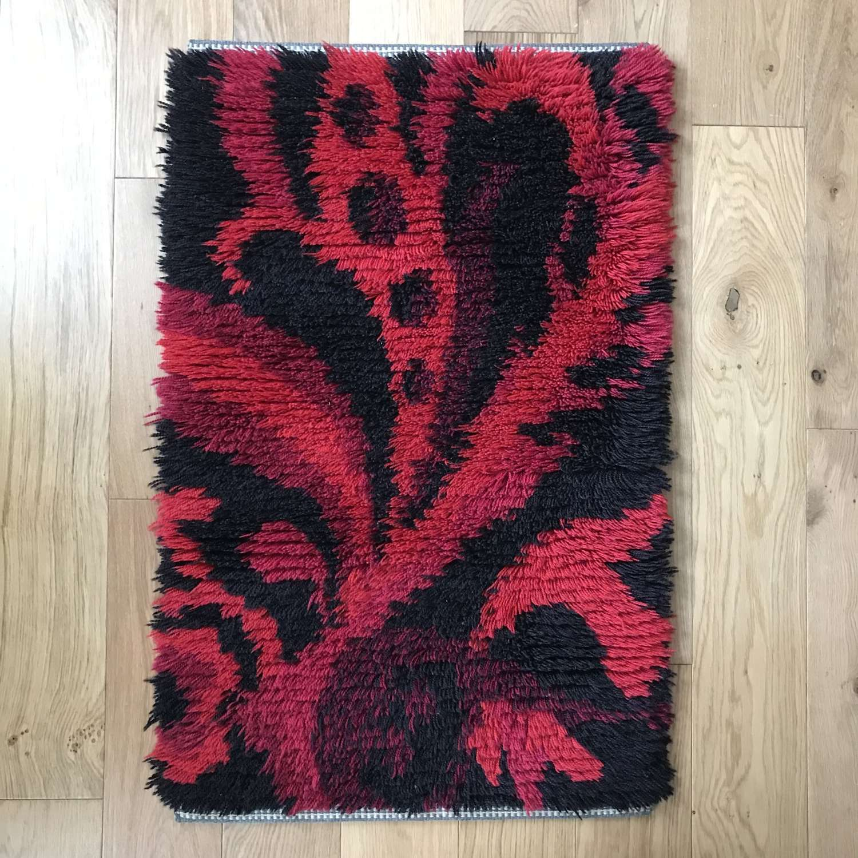 Swedish rya rug, red and black, c 1970s