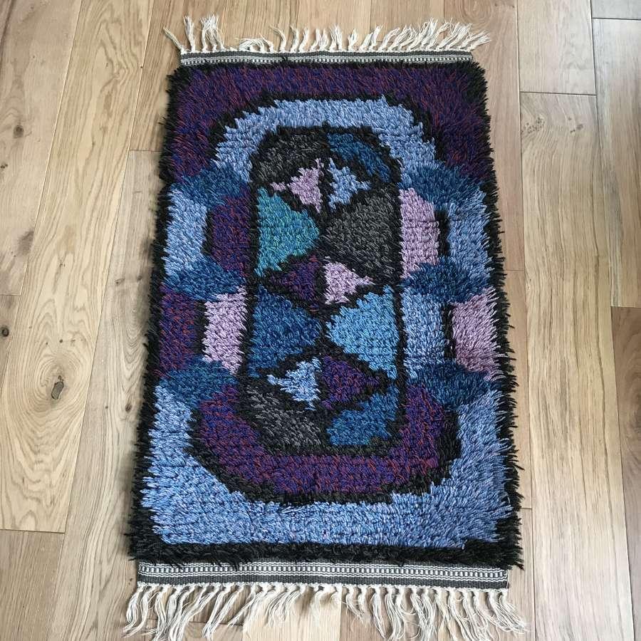 Swedish rya rug, blue and purple, c 1970s
