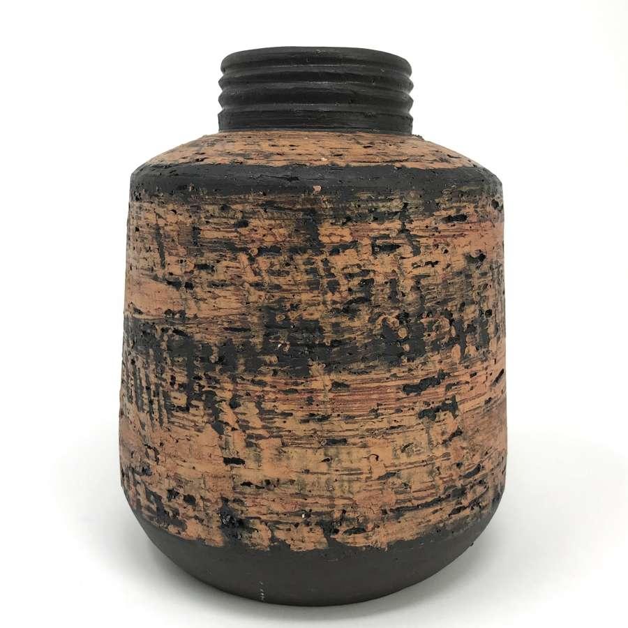 Jaap Ravelli Red Birch Bark Glazed Vase Dutch 1960s