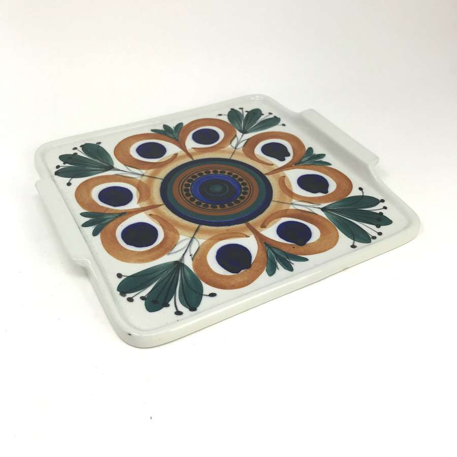 Svea Grandlund Hand Painted Serving Tray Arabia Finland 1970s