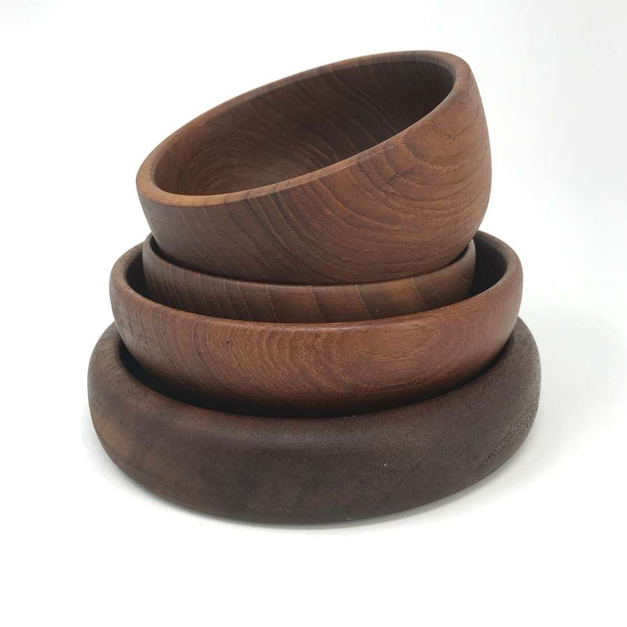 Four Swedish Teak Serving Bowls 1960s