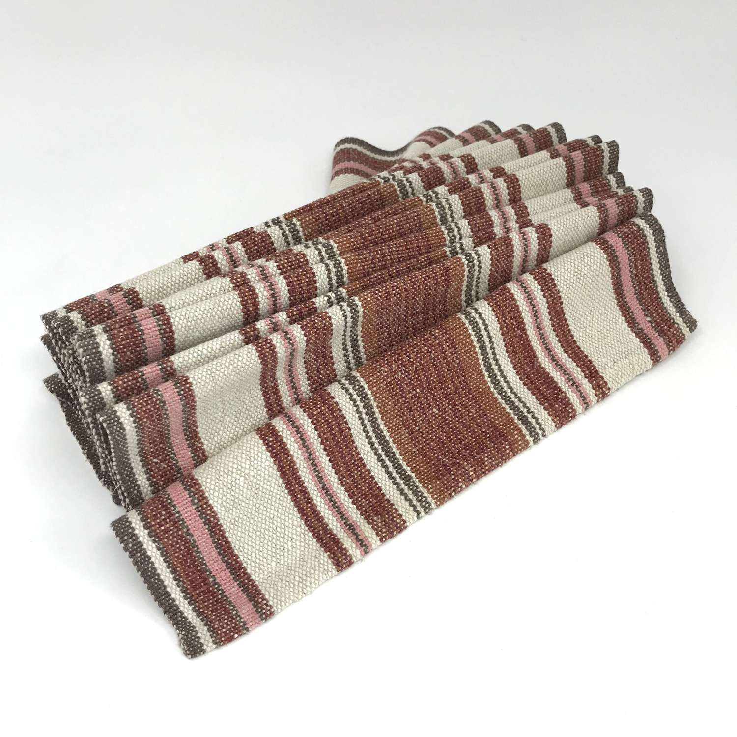 Swedish Handwoven Linen Table Runner in Tan and Pink 1970s