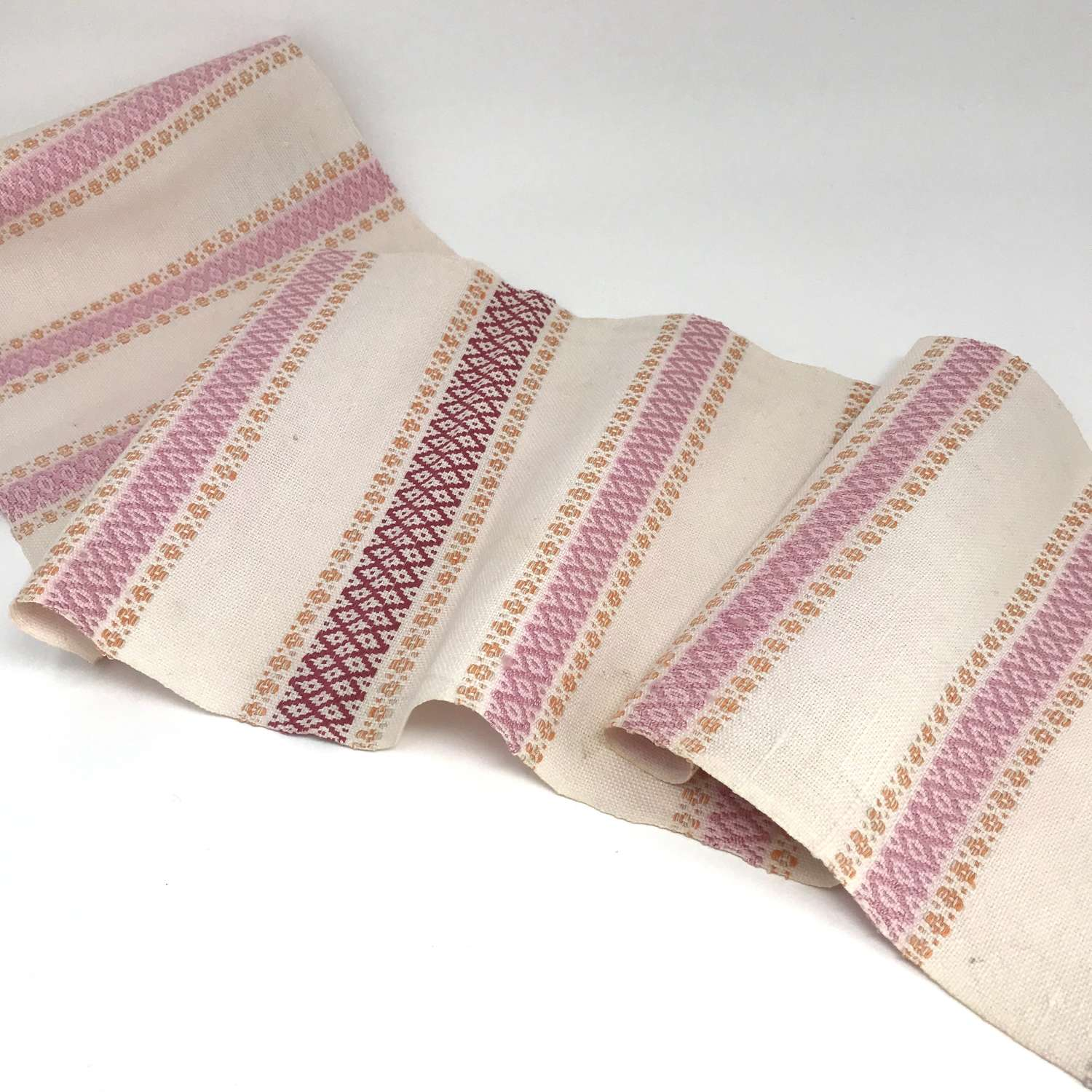 Swedish Handwoven and Embroidered Table Runner Pink and Orange Pattern