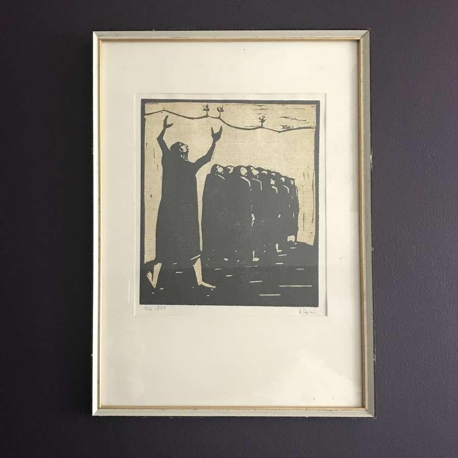 Ake Holm Numbered Linocut Print Sweden 1960s Framed