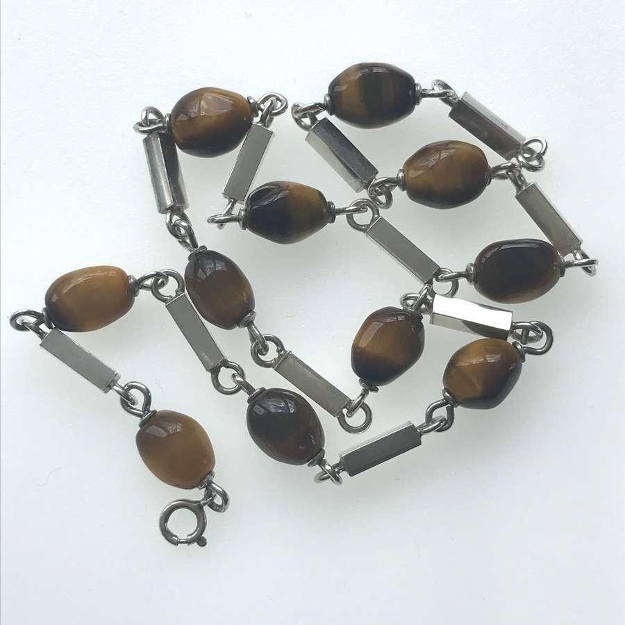 Tigers eye and silver bead necklace by Heribert Englebert Sweden 1970s