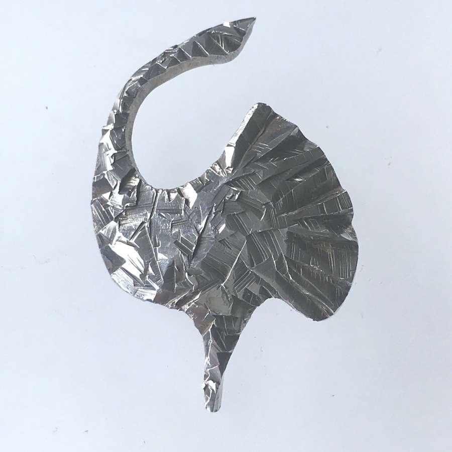 Rey Urban silver stylised bird brooch, Sweden 1974