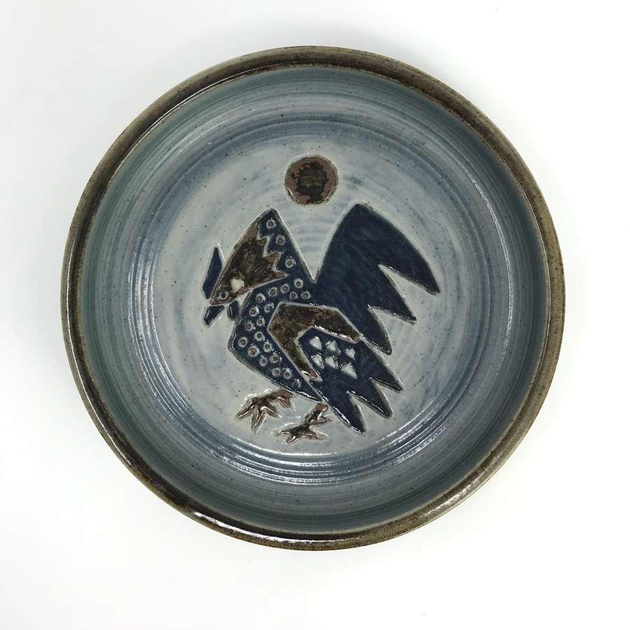 Jorgen Mogensen Blue Dish with Cockerel Pattern Royal Copenhagen 1950s