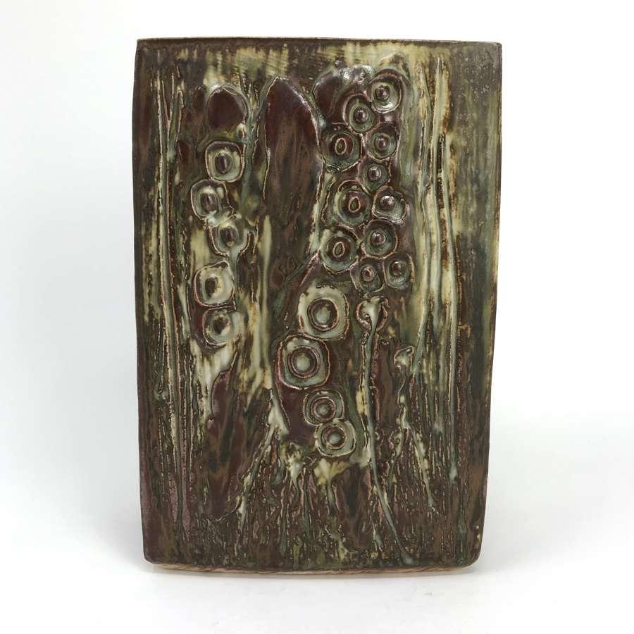 Jorgen Mogensen Unique Slab vase with flora Own Studio Denmark 1970s