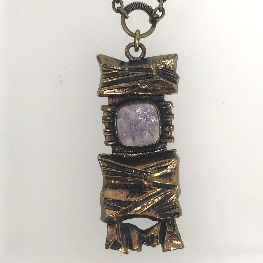 Pentti Sarpaneva bronze pendant with amethyst, Finland 1960s