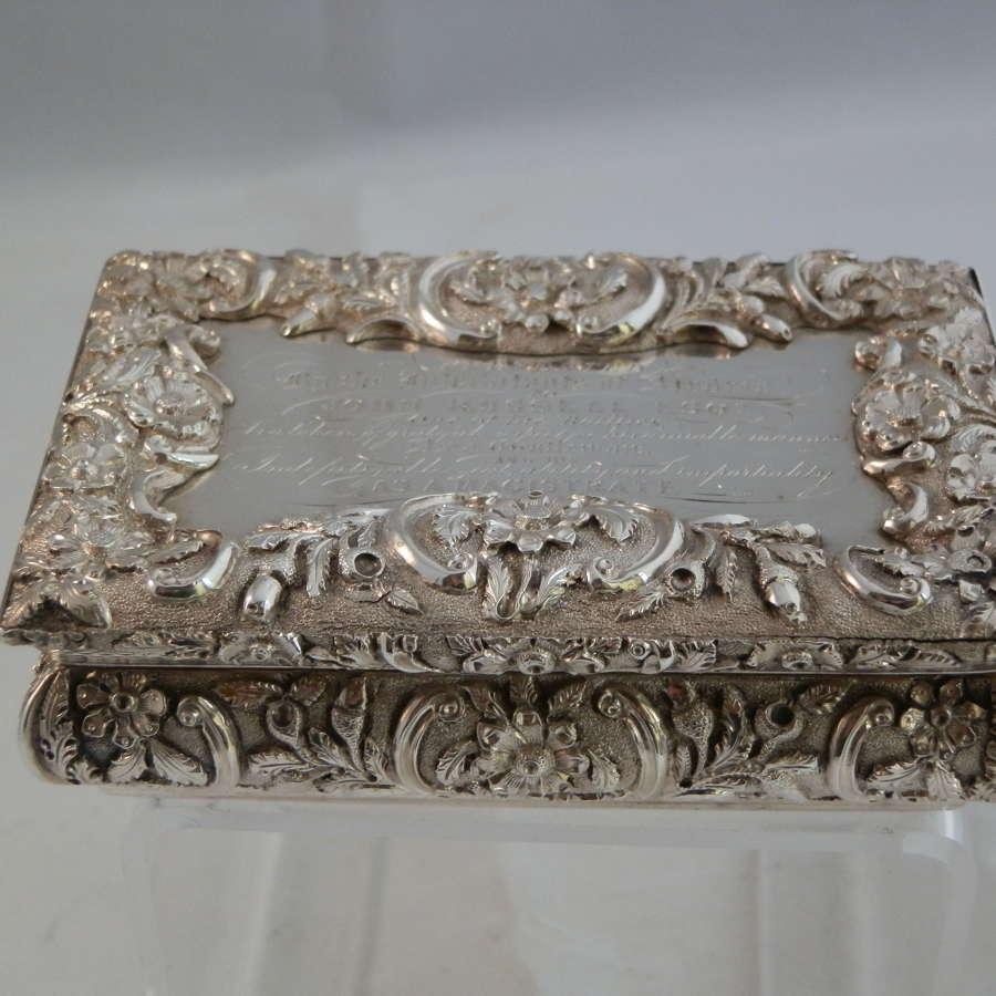 William IV silver snuff box by Nathaniel Mills