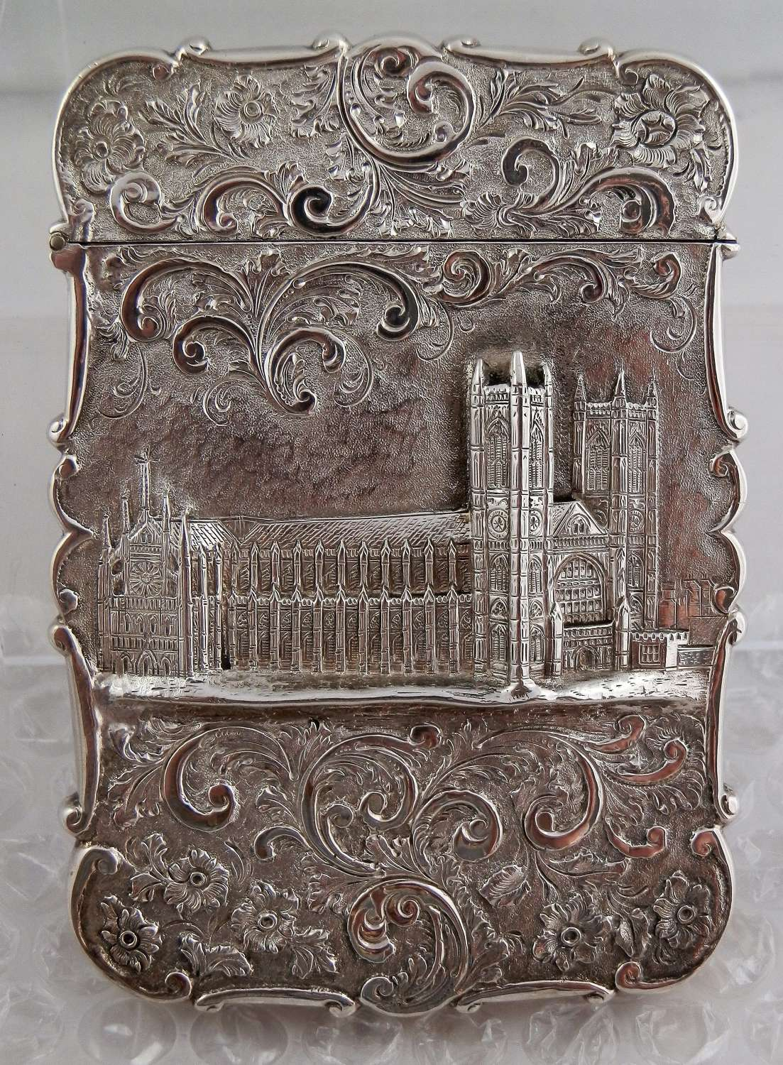 A Victorian silver card case, Westminster Abbey, Nathaniel Mills