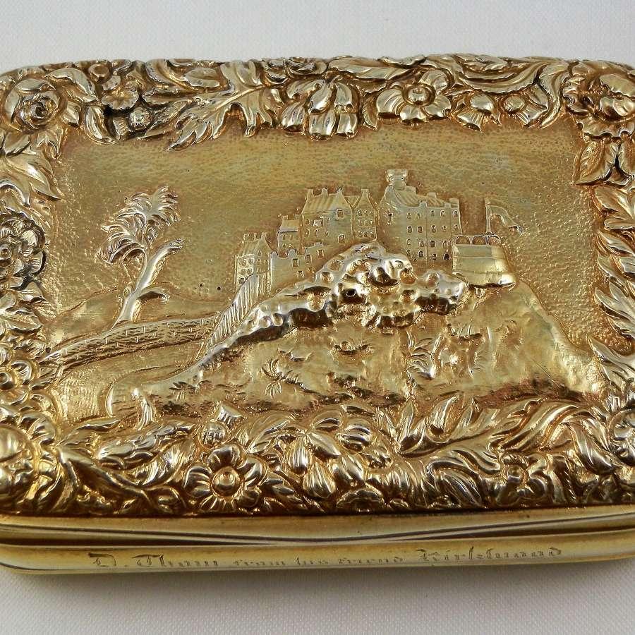 A scarce Georgian Scottish silver gilt table snuff box, 1820