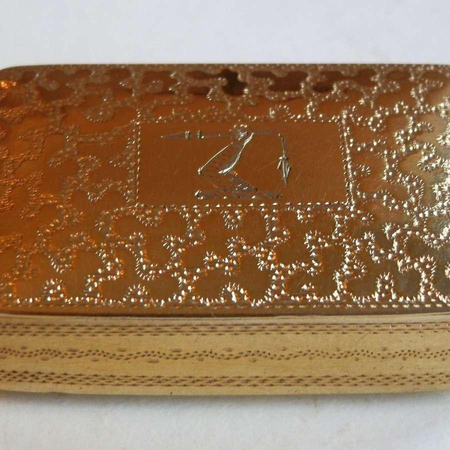 A George IV silver gilt pocket snuff box, 1823