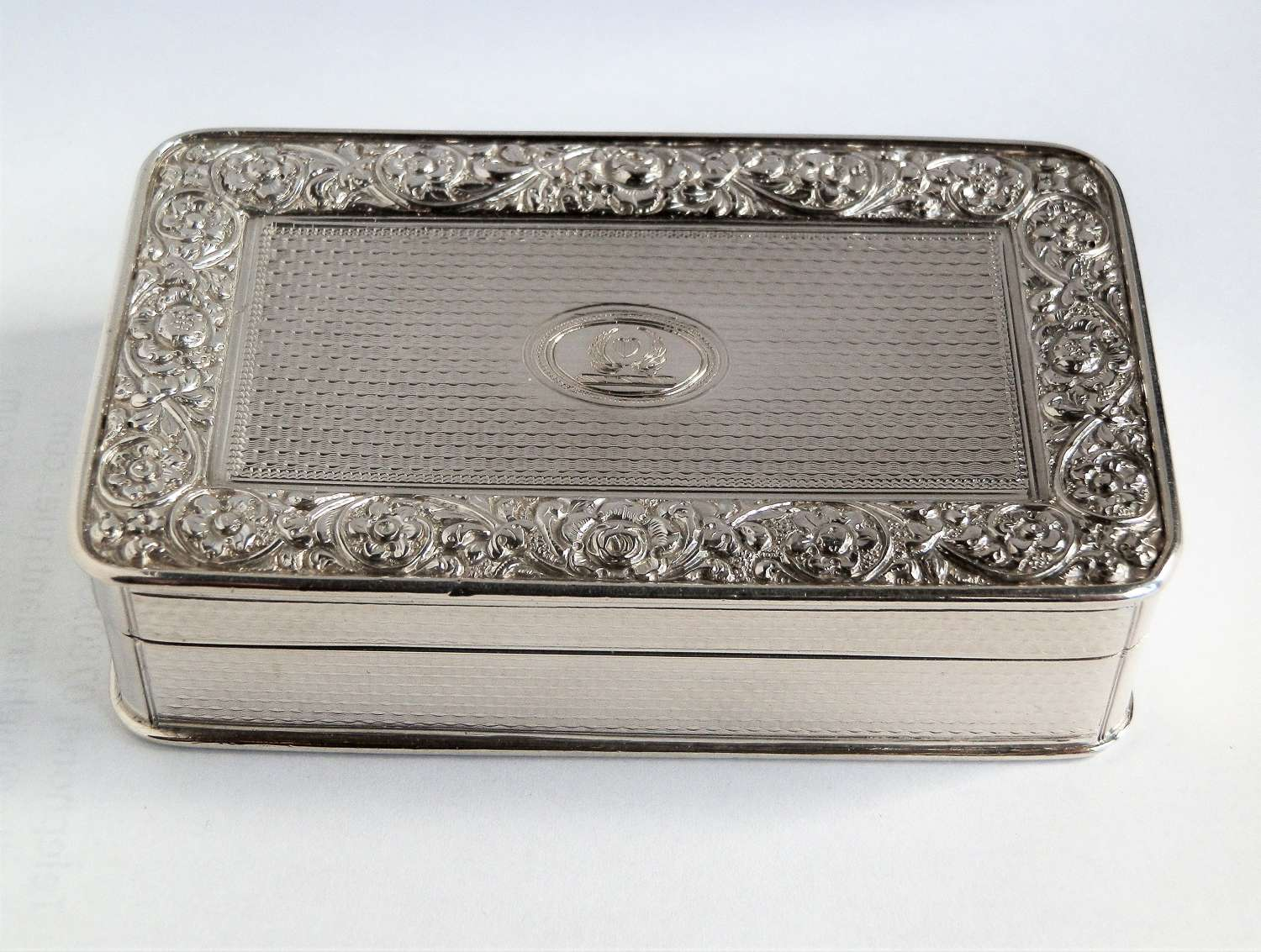 A large George III silver table snuff box, Wm Edwards, 1818