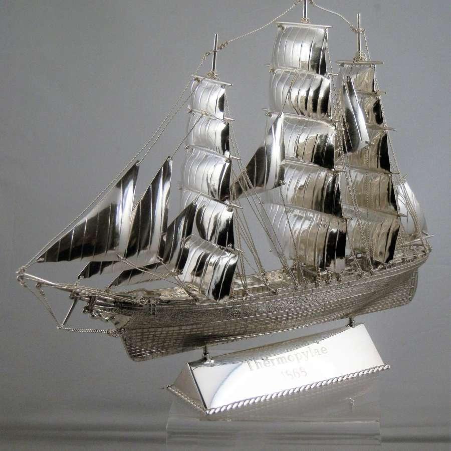 A scale silver model of a clipper ship, Edinburgh 2018