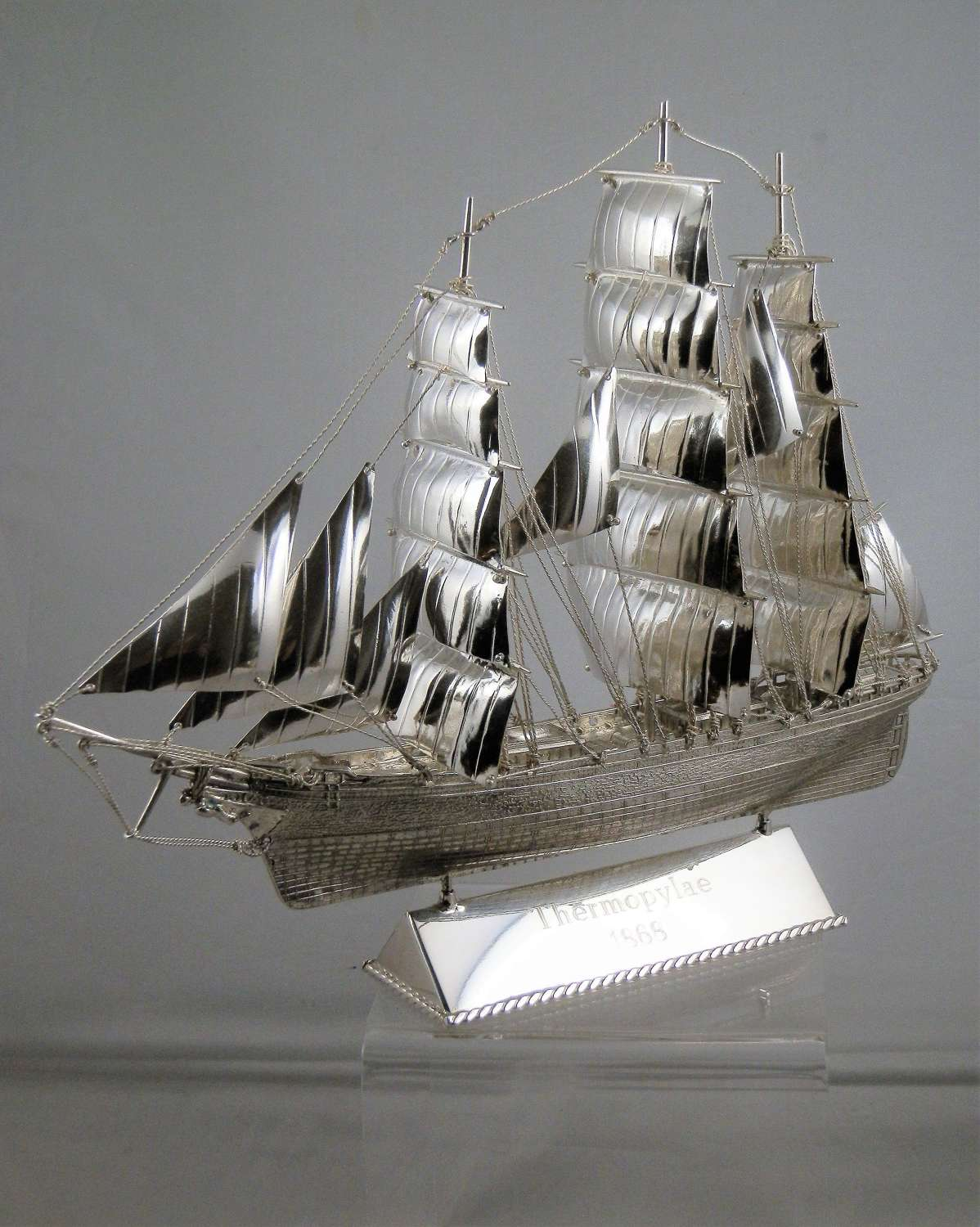 A scale silver model of a clipper ship, Edinburgh 2018