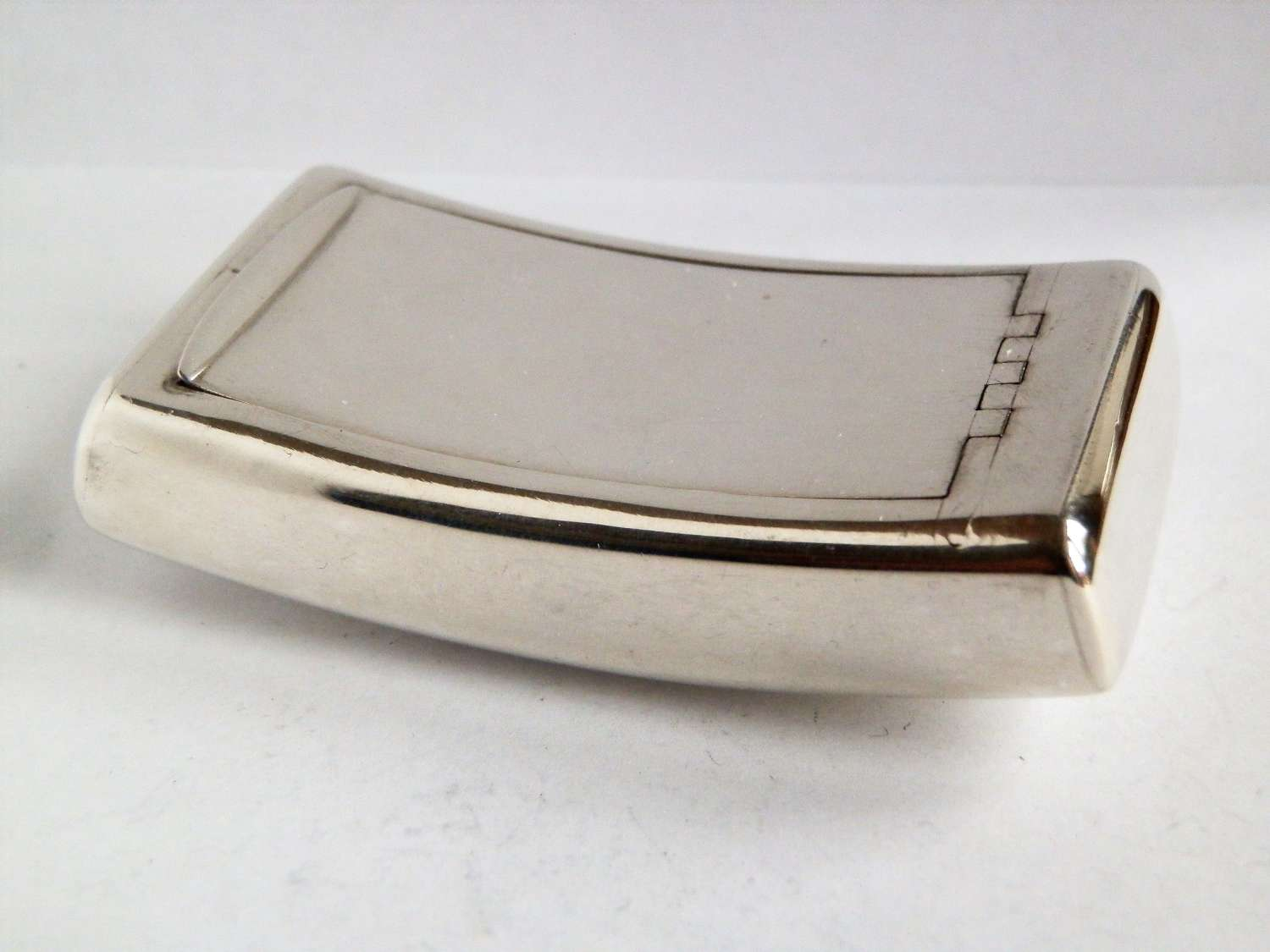 A George III curved silver pocket snuff box, William Boot, 1806