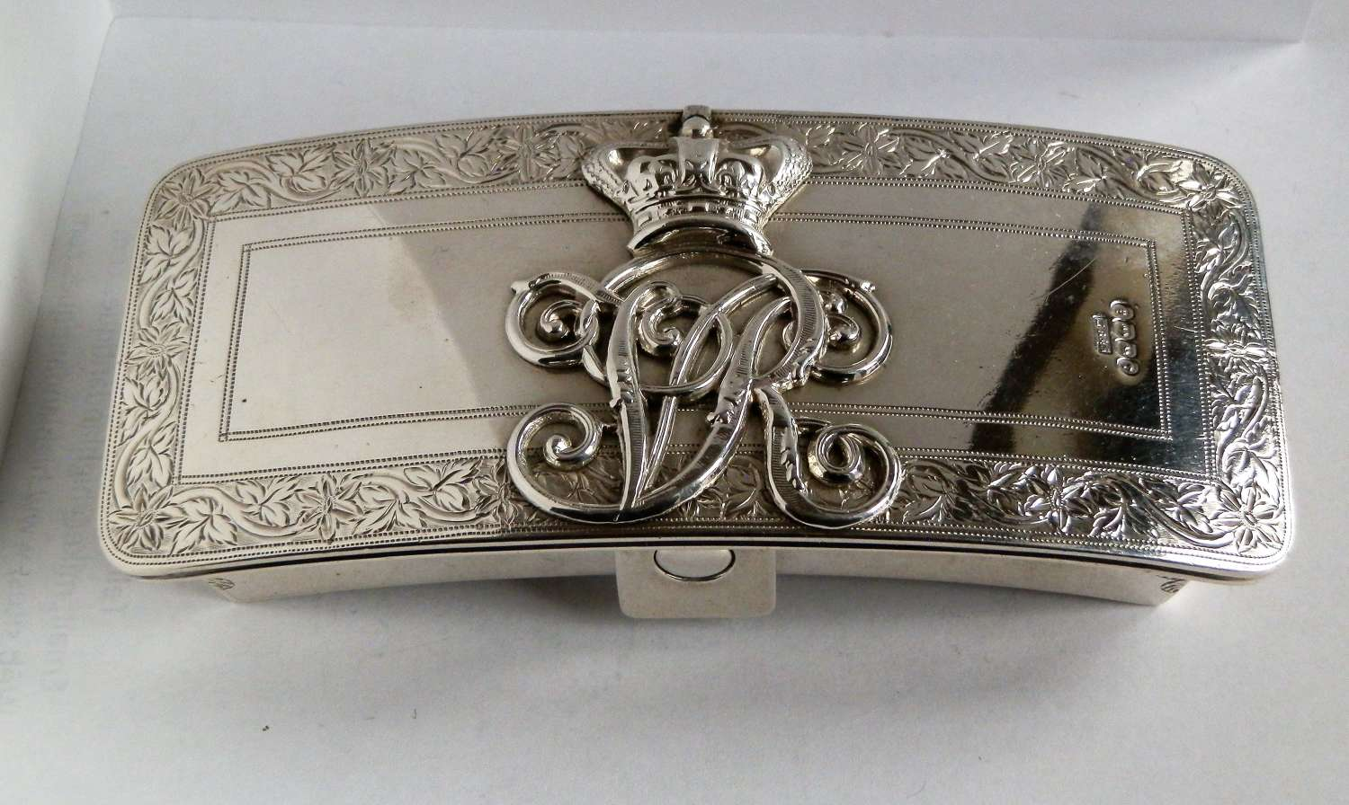 A silver military Victorian table vesta box, 17th Lancers, 1889
