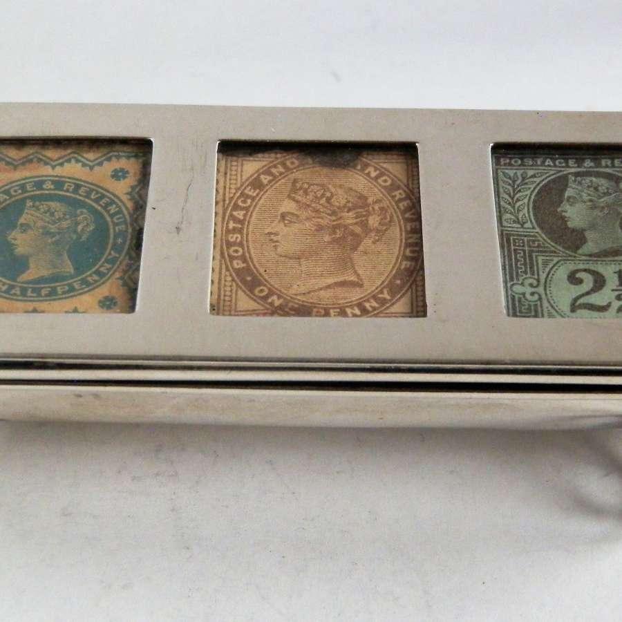 Victorian 3 part silver stamp box, 1898