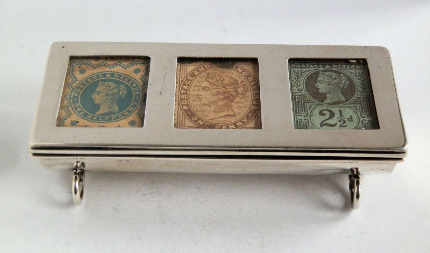 Victorian 3 part silver stamp box, 1898