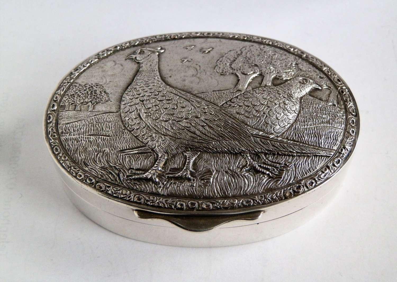 Elizabeth II silver snuff box with cast pheasants, 1983