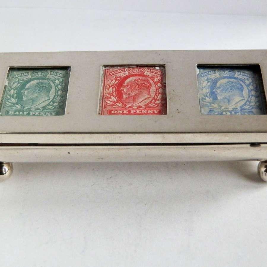 Edwardian silver three part stamp box, 1903
