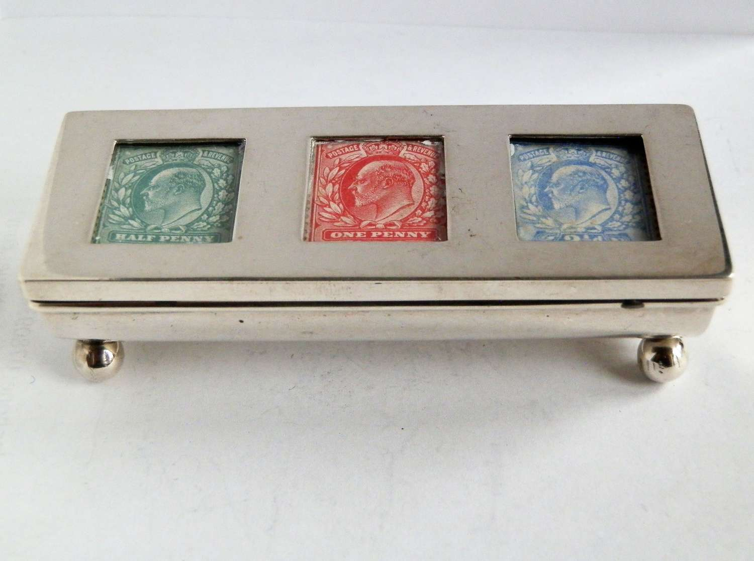 Edwardian silver three part stamp box, 1903
