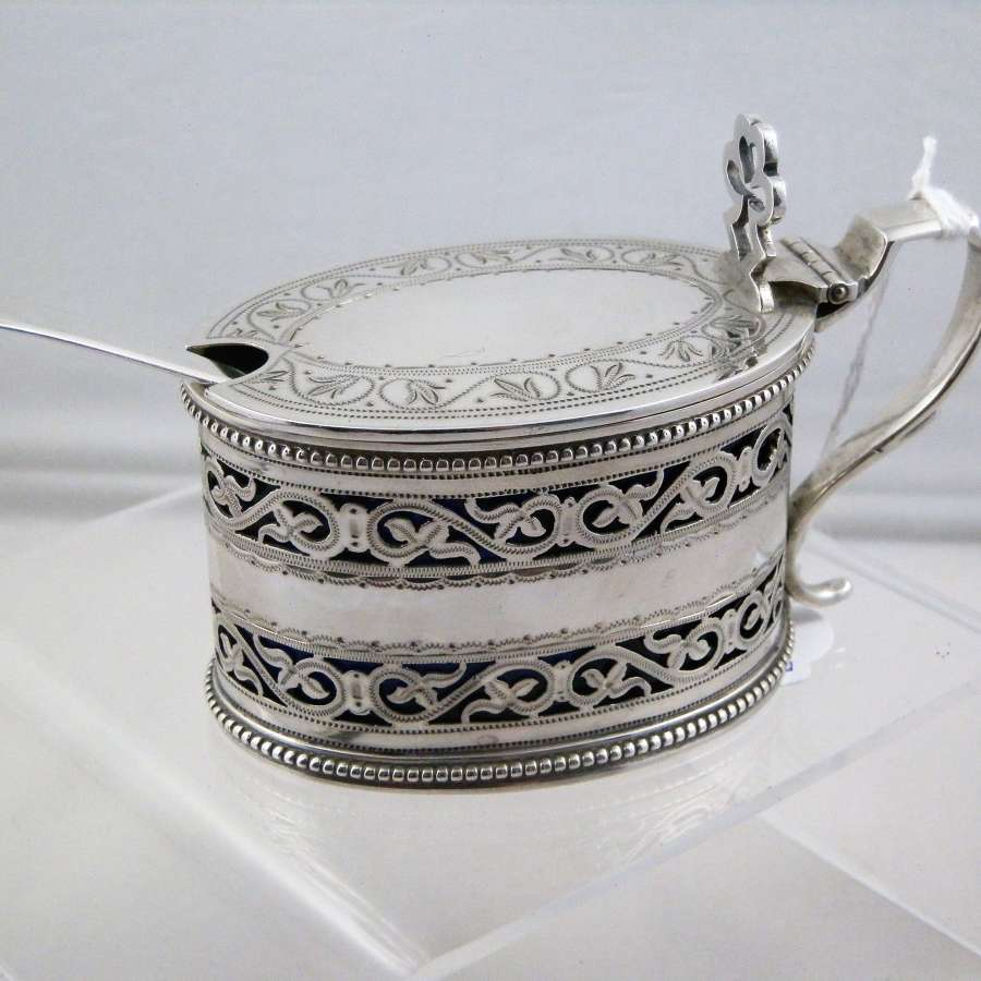 Victorian silver mustard pot, London 1880