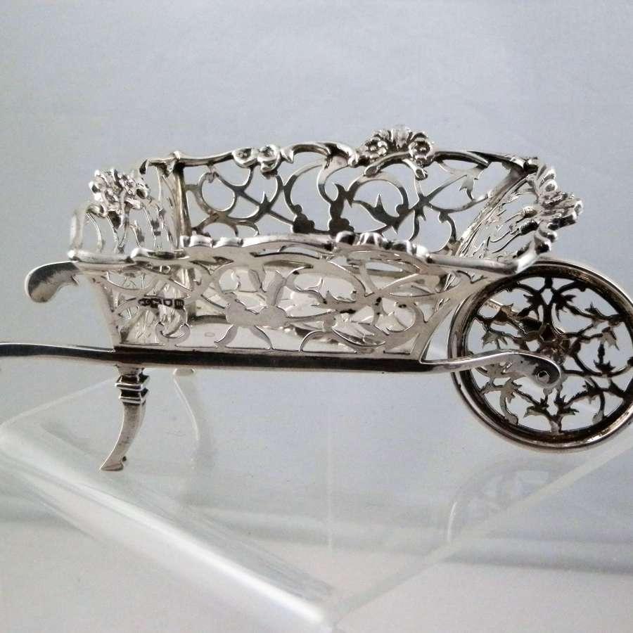 Silver fret work wheel barrow, William Comyns, 1907