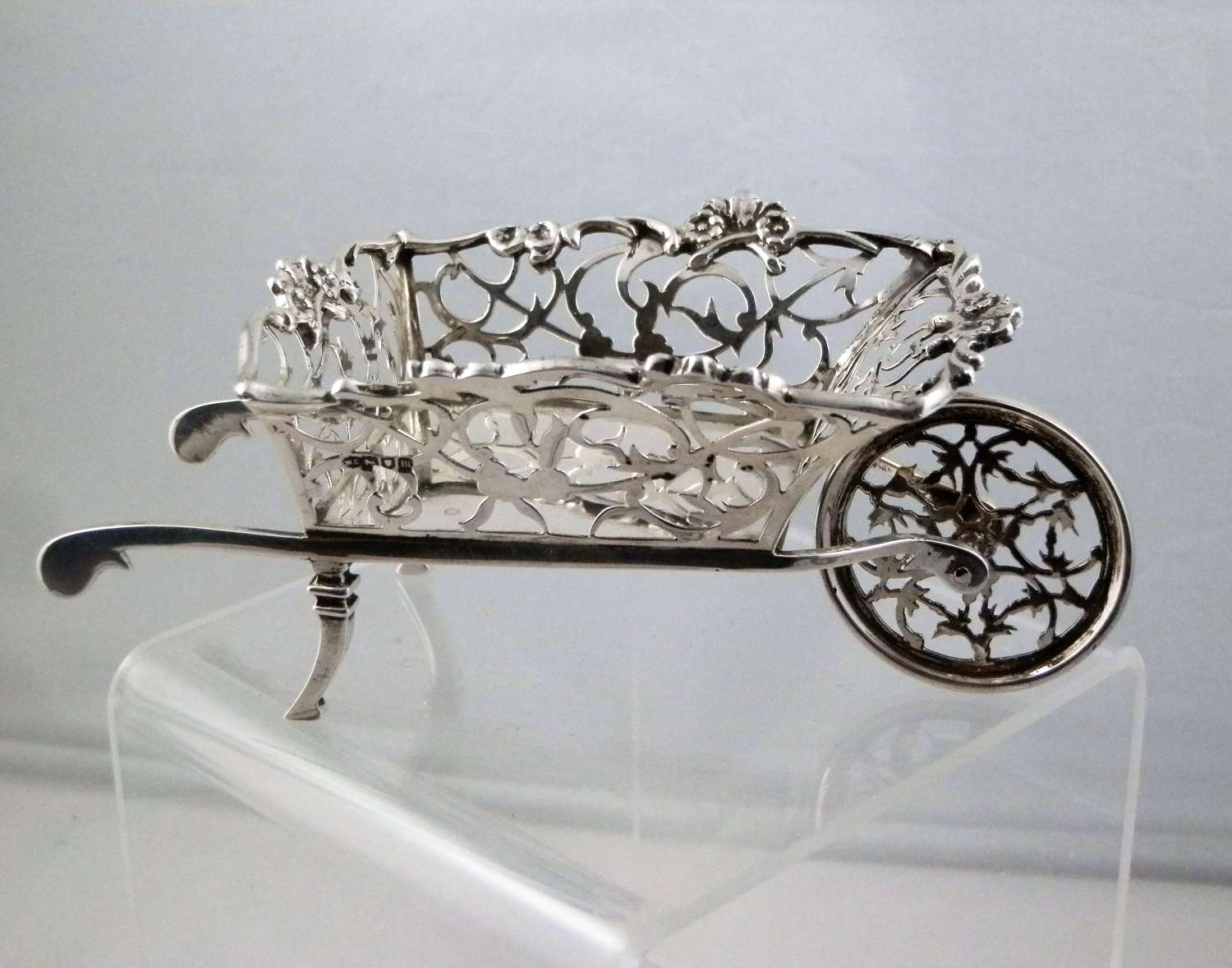 Silver fret work wheel barrow, William Comyns, 1907