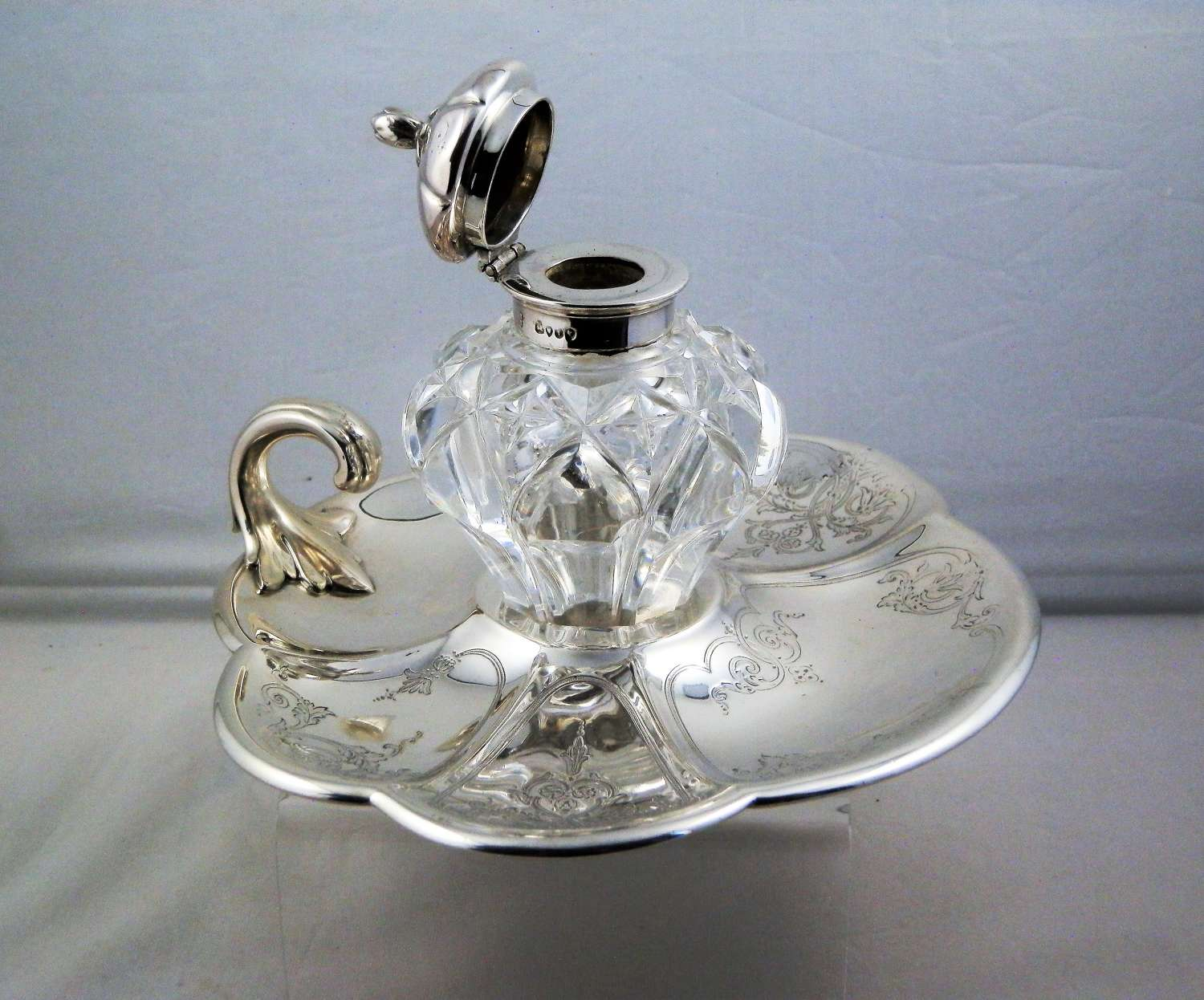 Victorian silver ink stand or inkwell. London 1864
