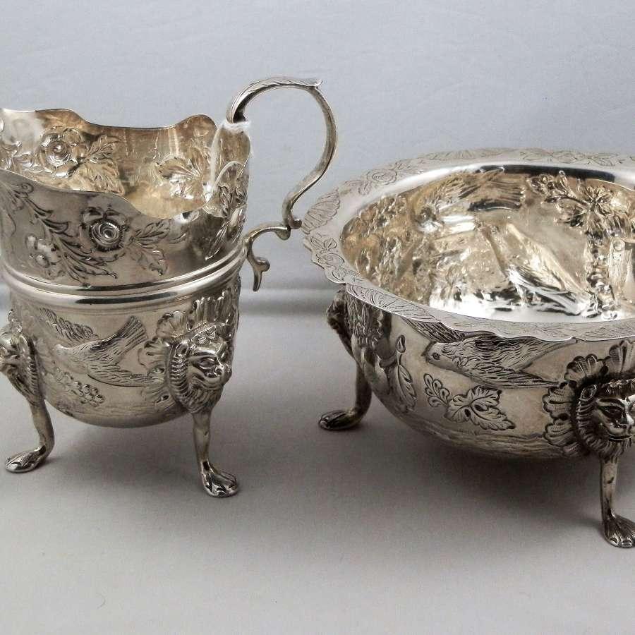 Victorian Irish silver bowl and jug, Dublin 1901