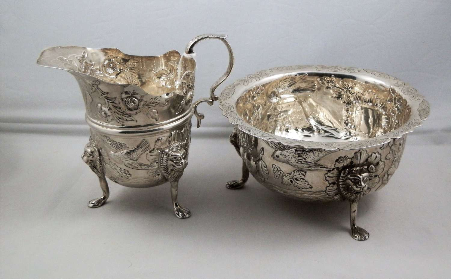 Victorian Irish silver bowl and jug, Dublin 1901