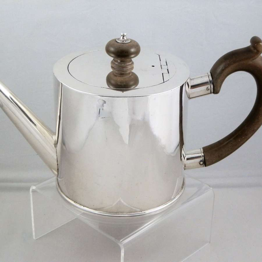 George II silver drum teapot, London 1755