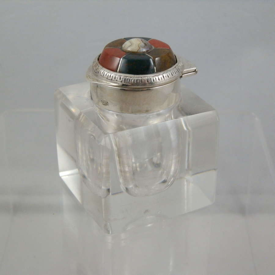 Edwardian silver and agate inkwell, Birmingham, 1906