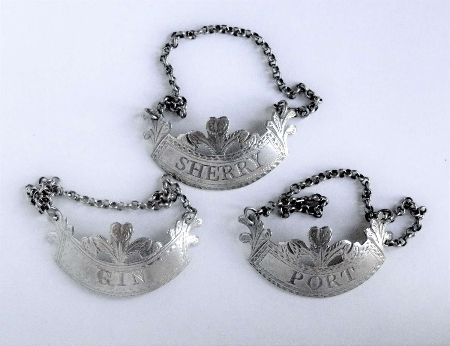 George III set of 3 silver wine labels London 1792-8