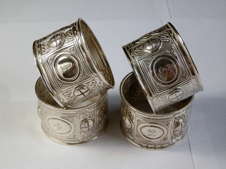 Victorian Scottish silver napkin rings, Edinburgh 1891