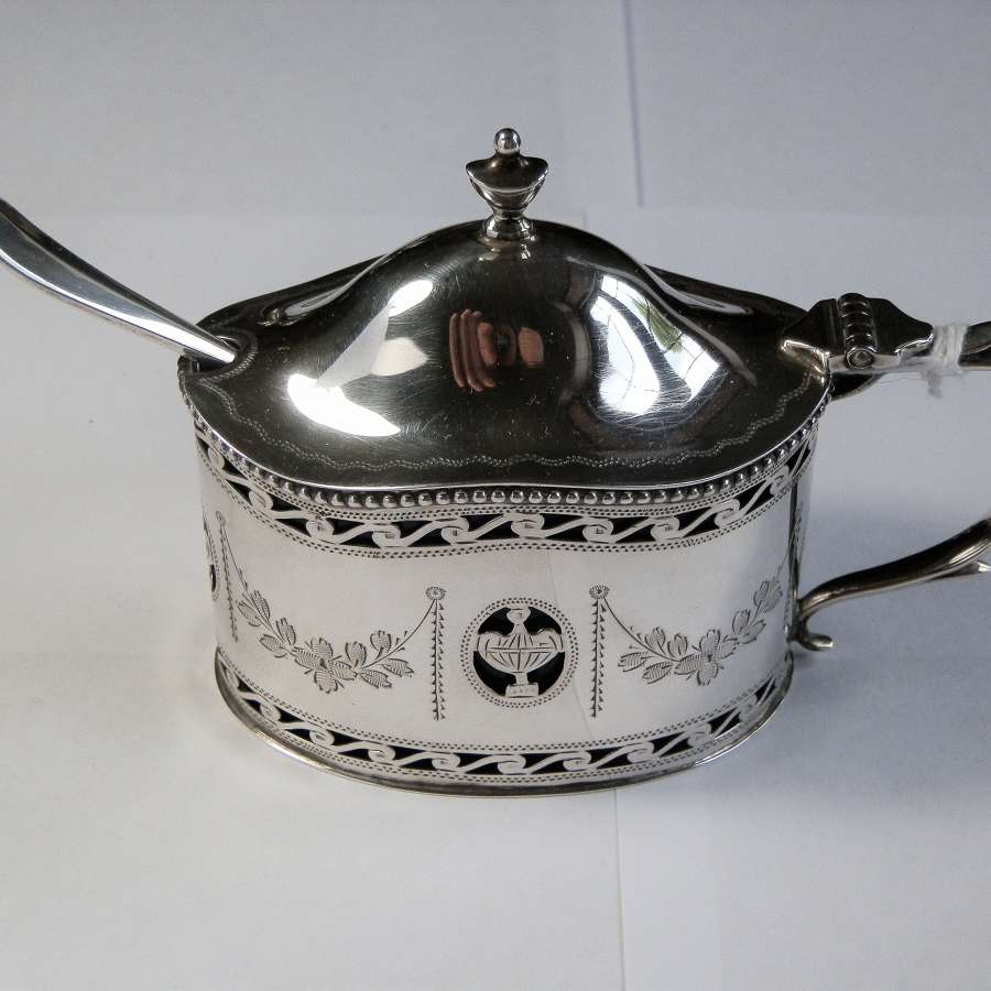 Silver mustard pot, Comyns, London 1936