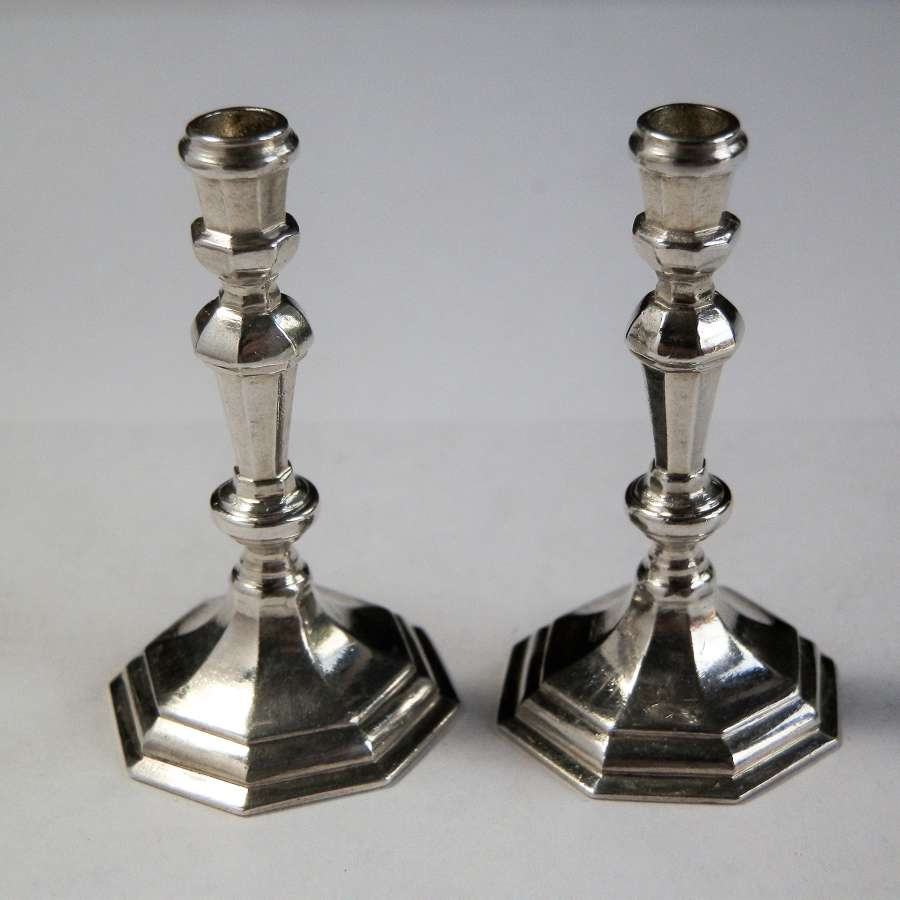 Miniature silver candlesticks, London 1956