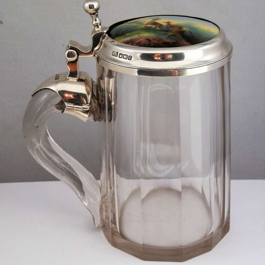 Glass and silver tankard, porcelain insert, Sheffield 1915
